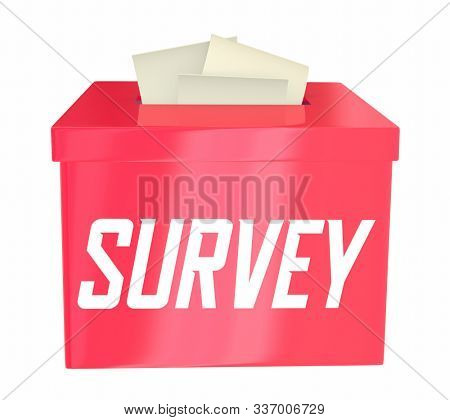 Survey Opinion Poll Answer Collection Box Cards in Slot 3d Illustration
