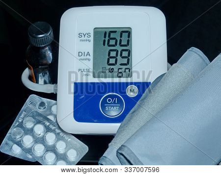 Apparatus For Measuring Blood Pressure. High Pressure. Data Shows Health Problems.