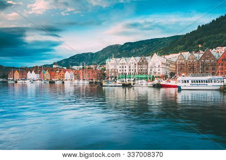 Bergen, Norway - August 3, 2014: View Of Historical Architecture, Buildings, Bryggen In Bergen, Norw