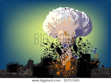 illustration with atomic explosion cloud above city