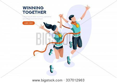 Web Page, Place With Hands Of Athletes. Tournament With Athletics Characters For Victory. Cartoons O