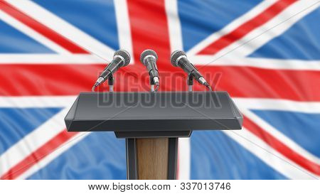 3d Illustration. Podium Lectern With Microphones And British Flag In Background