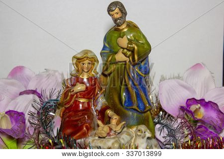 Christmas Statuette Mary With Joseph And Infant, Christmas Nativity Scene Represented With Statuette