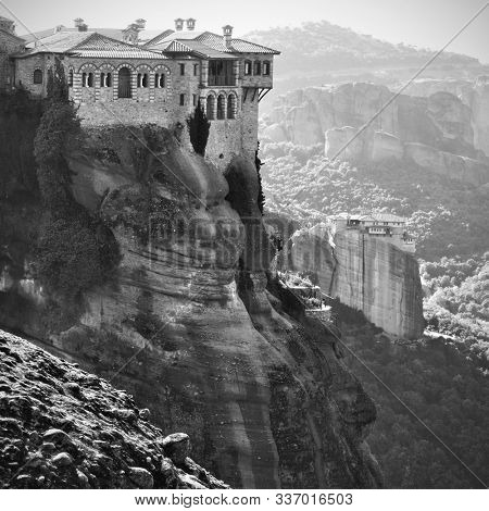 Varlaam Monastery and Roussanou Nunnery in Meteora, Greece  - Black and white landscape