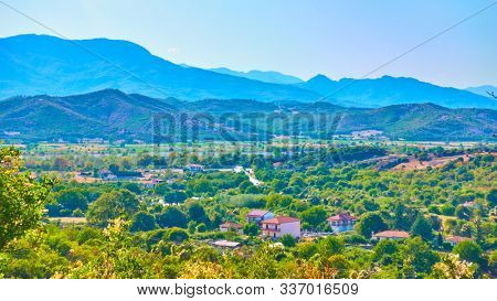 Greek rural landscape with village, Thessaly, Greece -  Picturesque greek scenery