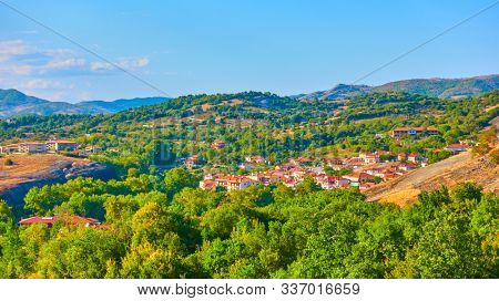 Panoramic rural landscape with village, Thessaly, Greece -  Picturesque greek scenery