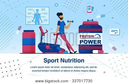 Sport Nutrition Supplements For Muscular Power And Physical Endurance Growth Trendy Flat Vector Ad B