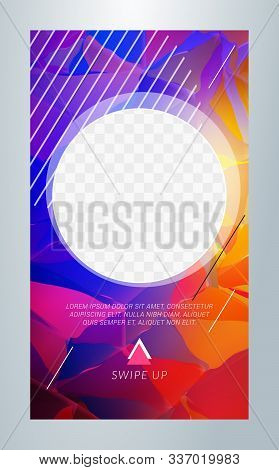 Editable Template For Social Media Stories. Story Template. Vector Colorful Illustration. Promotion