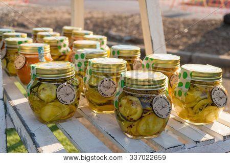 Darwin, Australia - June 1, 2019: Homemade Vegetable Preserves At Malak Farmers Market At Darwin. Fe