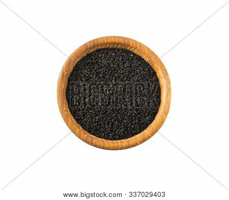 Black Cumin Isolated On White Background. Top View. Black Cumin Seed In Wooden Bowl Isolated On Whit