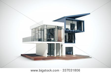 Project Of A Cottage. Building And Architecture Concept. 3d Rendering