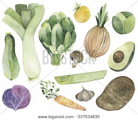 Vegetables Set Drawn Watercolor Blots And Stains With A Spray Pumpkin, Beet, Pepper, Cucumber On Kra