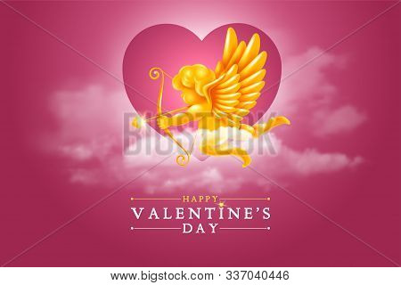 Valentines Day Chic Greeting Card With Golden Figure Of Cupid In The Clouds At The Heaven. Amur Aimi