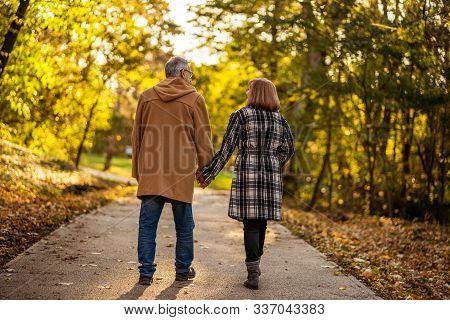 Romantic Senior Couple Is Walking In Park In Autumn.