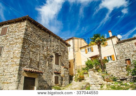Old Town Of Hum, Beautiful Traditional Architecture In Istria, Croatia
