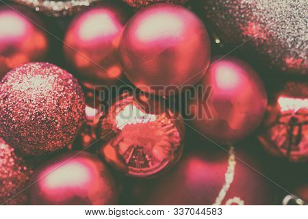 Glitter Red And Pink Bauble Christmas Ball Heap In Top View Flat Lay With Copy Space. Close Up View
