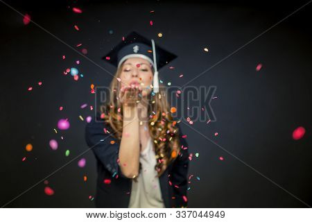 Confetti Girl With Graduation Hat