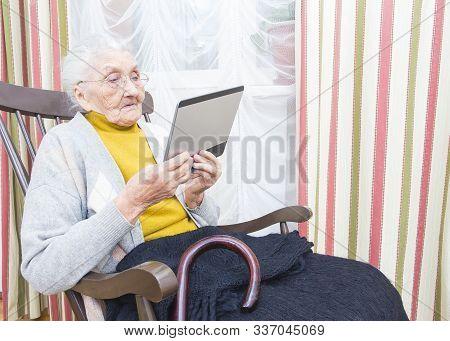 Elderly Lady New Technology