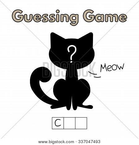 Cartoon Cat Guessing Game. Vector Illustration For Children Education