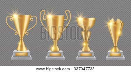 Gold Trophy. Realistic Golden Award Cups Collection. Shine Trophies Isolated On Transparent Backgrou