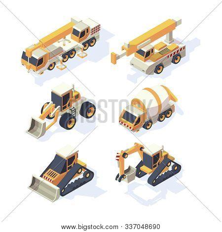 Construction Equipments. Machinery Isometric Building Technics Cars Cranes Excavator Digger Hydrauli