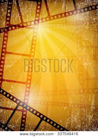 Movie Background. Film Frames Tape Reels Camera Video Illustrations Vector. Movie Tape, Cinema Film