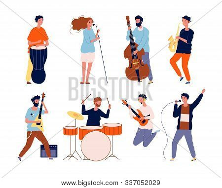 Music Band Characters. Rock Group Musicians Singing And Playing At Instrument Performing Stage Vecto