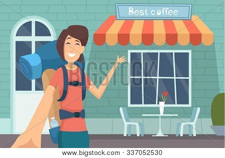 Travel Blogger. Girl Making Digital Content Caffe Review Online Displaying Modern Buildings Teaching