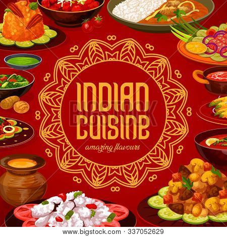 Indian Cuisine Food Menu Cover, Traditional India Restaurant Dishes. Vector Curry Rice, Vegetables A