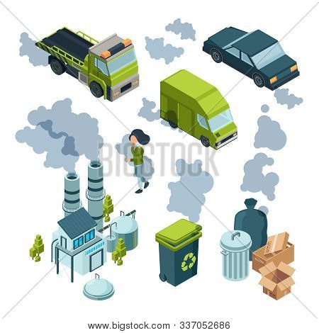Air pollution isometric. Factory bad environment chemical garbage urban vehicle trash vector isometric. Illustration pollution air and smokestack poster