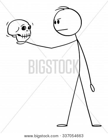 Cartoon Stick Figure Drawing Conceptual Illustration Of Man In Dramatic Pose Holding Human Skull. Ac