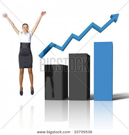 Young woman jumping up against financial charts