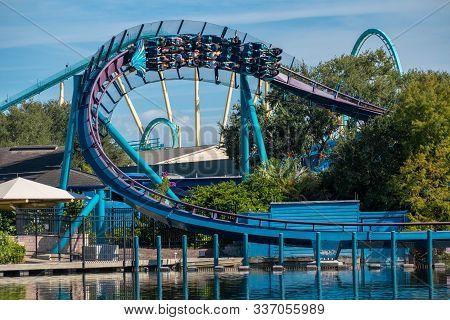 Orlando, Florida . November 22, 2019. People Enjoying Mako Rollercoaster At Seaworld 2