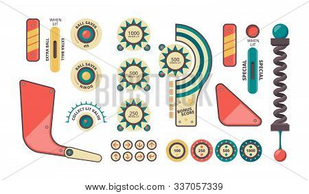 Pinball Elements. Buttons Coins Plunger Decorative Shadows And Forms For Game Machine Vector Pinball