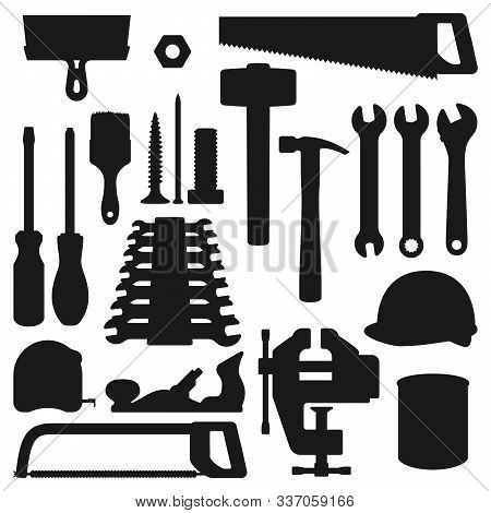 Work Tools Silhouette Icons, Home Repair, Renovation And Remodeling Handy Instruments. Vector Woodwo