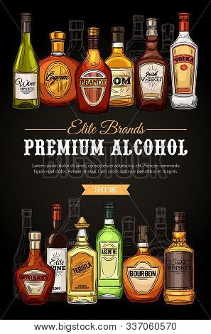 Alcohol Drinks, Premium Beverages Bar Menu, Store Sketch Poster. Vector Elite Quality Brand Vodka, I