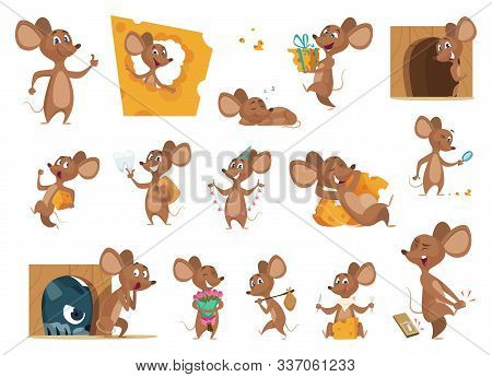Mouse Cartoon. Small Mice In Action Poses Lab Animals Friendly Mascot Pets Vector Characters. Illust