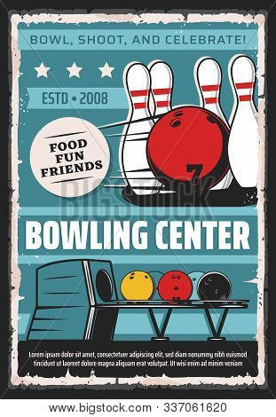 Bowling Center, Sport Game Club And League Tournament Vintage Retro Poster. Vector Bowling Game Club
