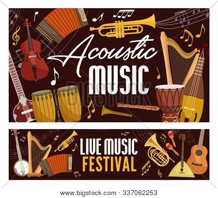 Live Music Festival Poster, Classic, Jazz And Folk Band Musical Instruments. Vector Acoustic Guitar,