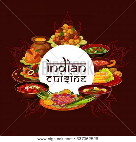 Indian Cuisine Restaurant Menu Cover Template, India Traditional Authentic Food Dishes. Vector India