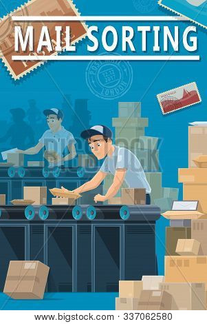 Mail Delivery, Post Office Sorting Center, Logistics And Shipping Service. Vector Mailman Couriers A