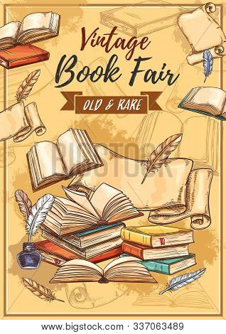 Vintage Books Fair And Literature Festival Sketch Poster. Vector Book Store And Study Or Education B
