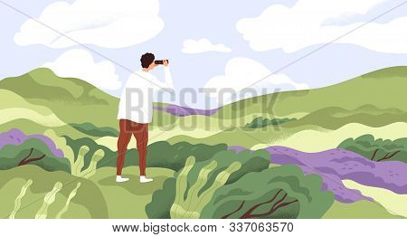Nature Lover Flat Vector Illustration. Man With Binoculars Enjoying Scenic Landscape. Searching New