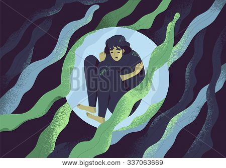 Depressed Girl In Bubble Flat Vector Illustration. Lonely Person In Vacuum. Diffident Woman In Solit