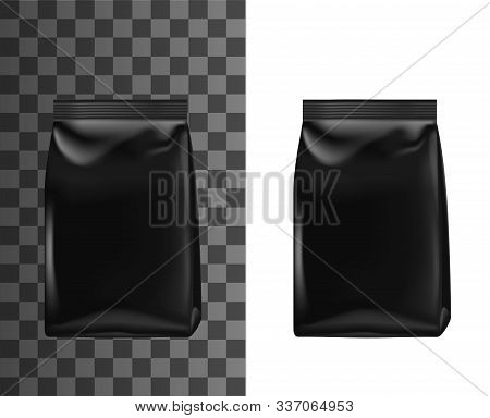 Black Bag Pack, Foil Or Paper Doypack Template Mockup, Realistic 3d. Vector Isolated Blank Doy Pack,