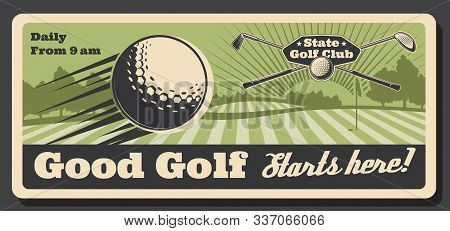 Golf Club Tournament And Sport Training Course Retro Vintage Poster. Vector Professional Golf Champi
