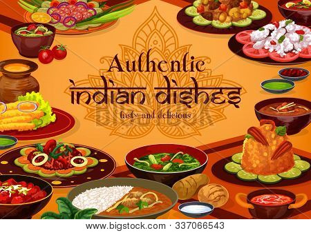 Indian Cuisine Traditional Food, India Authentic Dishes Menu. Vector Indian Cuisine Restaurant Break