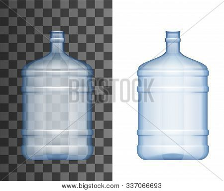 Water Cooler Bottle 3d Realistic Mockup Template. Vector Isolated Blank Plastic Water Cooler Or Disp