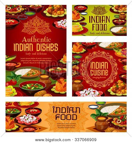 Indian Cuisine Restaurant Menu Cover, Traditional India Food Dishes Banners And Posters. Vector Indi