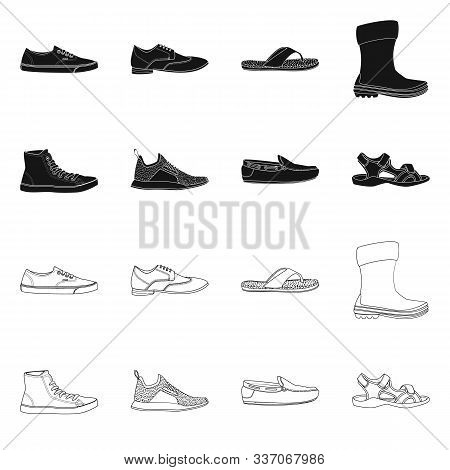 Isolated Object Of Shoe And Footwear Logo. Set Of Shoe And Foot Stock Vector Illustration.